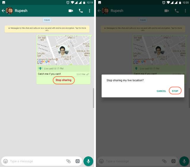 Ubicación en vivo de WhatsApp paso 4