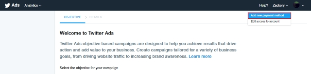 add payment Twitter ads