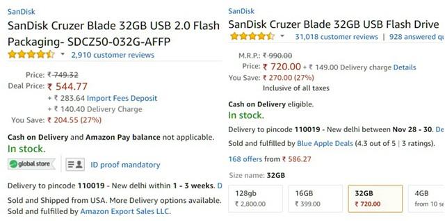 Amazon Global vs Indian Store