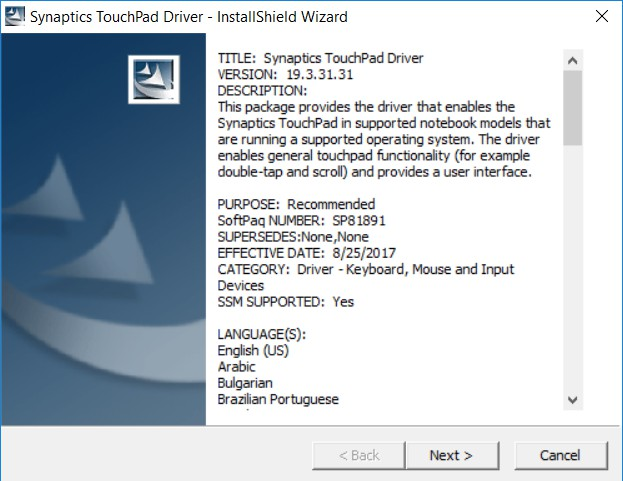 hp synaptics driver patch