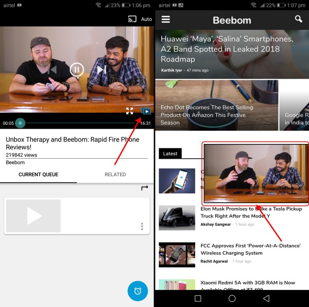 How to watch youtube in pip mode on any android device beebom now youll need to tap the icon at the bottom right of the video player the one weve marked to make the video go into picture in picture mode ccuart Gallery