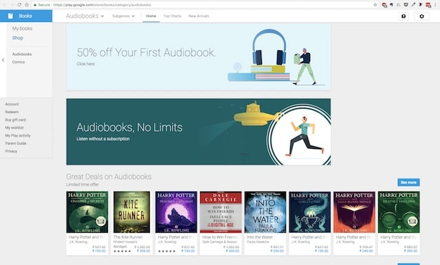 Google Play Store audio book