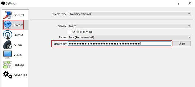 OBS stream key