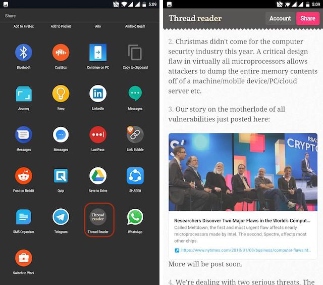 Using Thread Reader Android App - step 3