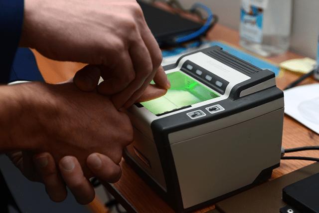 Fingerprint scan for Aadhaar card