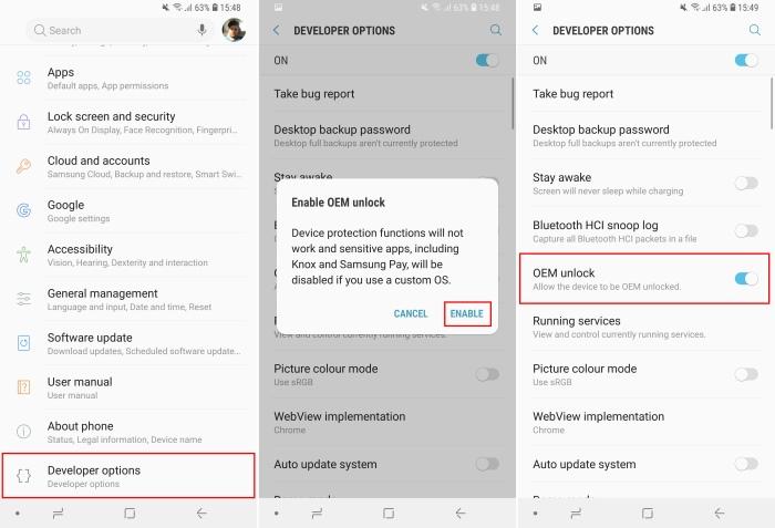 Desbloqueo de Galaxy S9 OEM