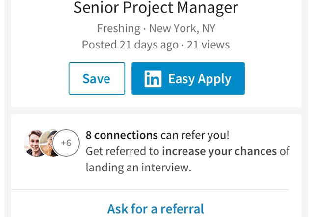 "LinkedIn Now Lets You Easily ""Ask for a Referral"" Before Applying for a Job"