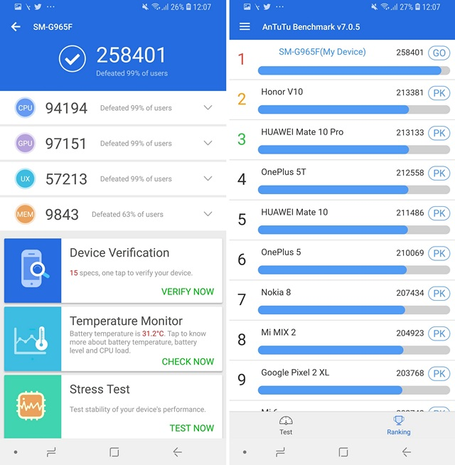S9 Plus Benchmark Scores