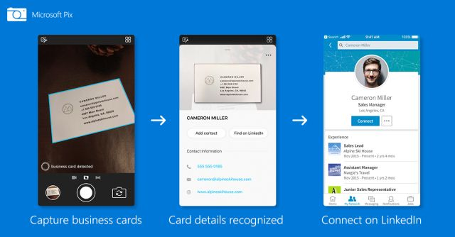 Save contacts from visiting cards to your linkedin with microsoft not only scan business cards and copy its entire content as text but also allows the user to save the information to the address book on their iphones reheart Choice Image