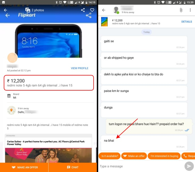 xiaomi redmi note 5 olx chat