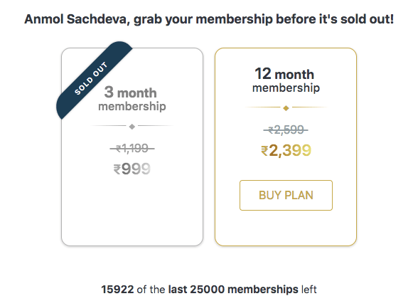 zomato gold subscription price