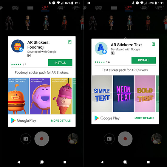 Foodmoji and Text AR Stickers on Google Pixel Smartphones Get Individual Apps