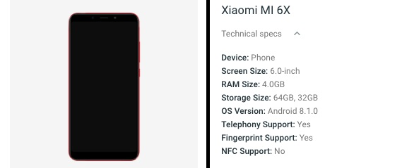 mi 6x android website listing