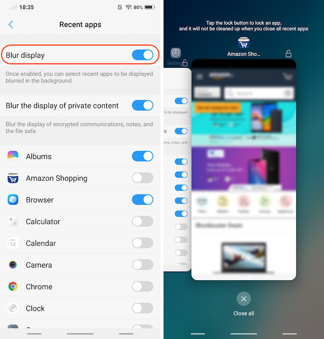 13. Blur specific Apps in 'Recent Apps' 2