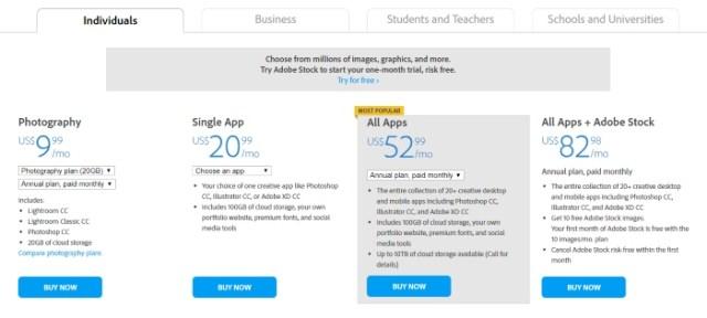 Adobe Photoshop CC 2018 Pricing