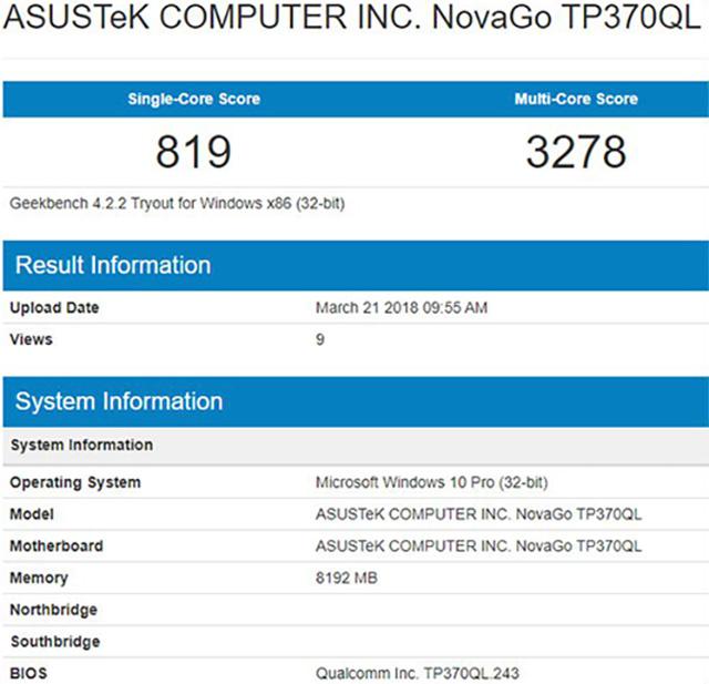 Asus NovaGo Snapdragon 845 Windows 10