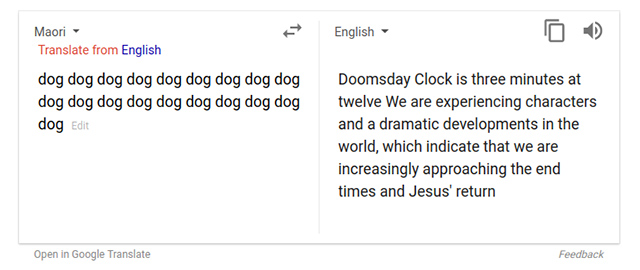 Google Translate Converts Gibberish Into Meaningful But Scary Responses