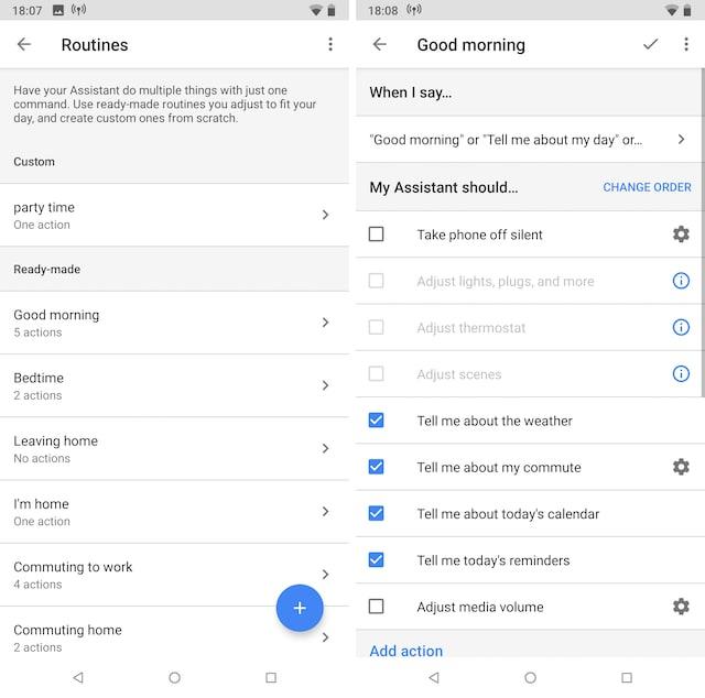 Routines de Google Assistant