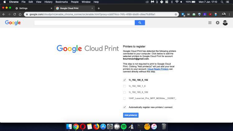 Google Cloud Print option