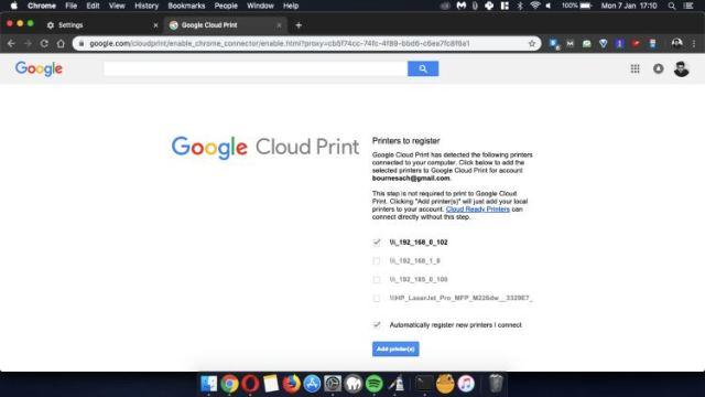 Opsi Google Cloud Print