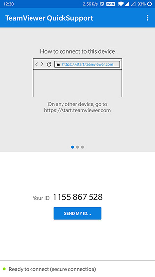 Обратите внимание на идентификатор TeamViewer