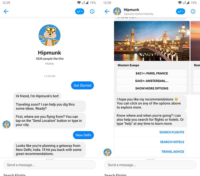 скриншот бота Hipmunk Messenger
