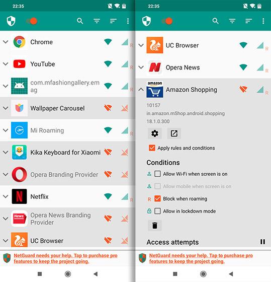 Приложения с открытым исходным кодом для Android Netguard