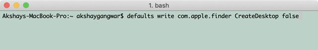 снимок экрана команды терминала для скрытия иконок на рабочем столе в macOS