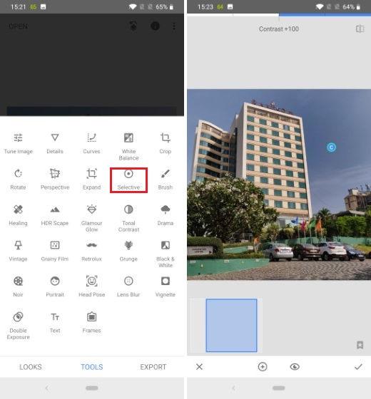 2. Используйте Выборочный инструмент для редактирования части фотографии
