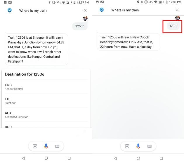 Compruebe la ubicación del tren con el Asistente de Google 2