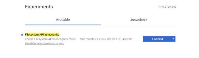 API файловой системы в флаге Incognito Chrome