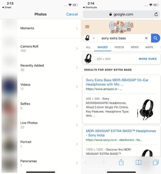 2. Обратный поиск изображений на iPhone и iPad с помощью ярлыков 2