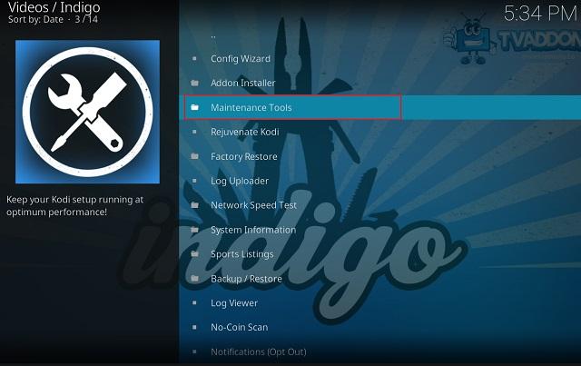 Очистить кэш на Kodi с помощью дополнения Indigo 9