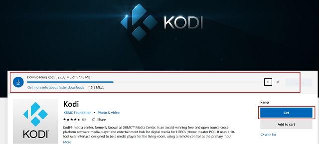 Instalar Kodi desde Microsoft Store