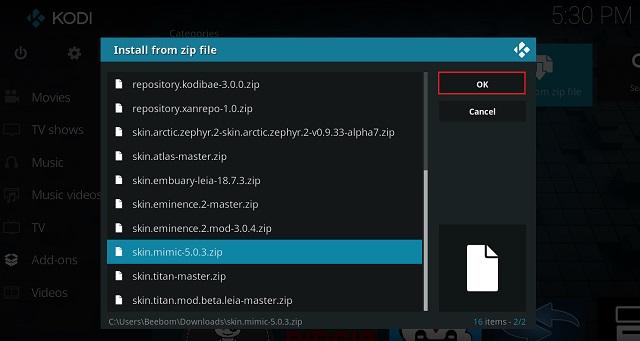 Установить скин Kodi из ZIP-файла 3