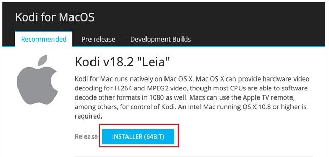 Instalar Kodi en macOS