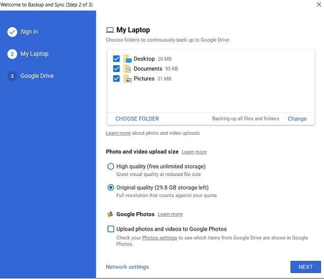 Copia de seguridad y sincronización de Google