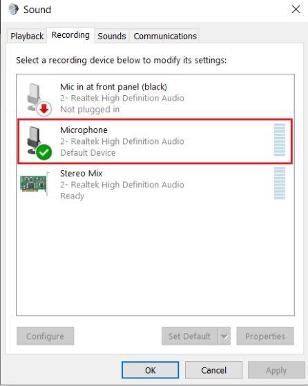 2. Настройте параметры микрофона с панели управления (2). Устраните проблемы с микрофоном в Windows 10.