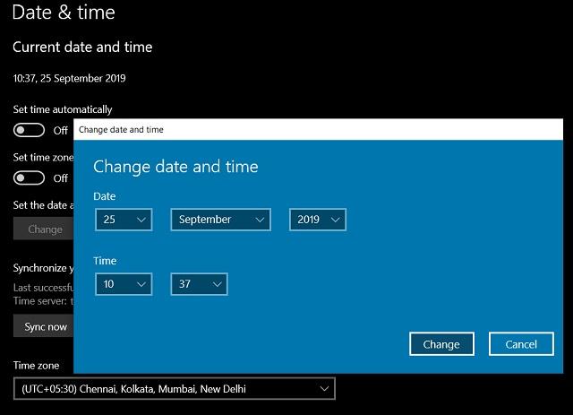 9. Actualizar fecha, hora y región
