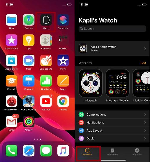 Запустить приложение Watch