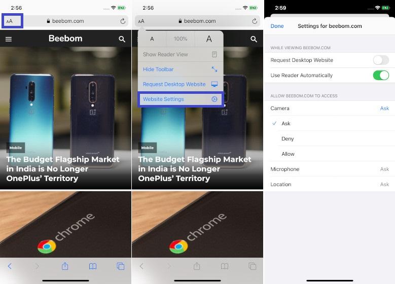 Personalizar la configuración del sitio web en iOS 13 Safari