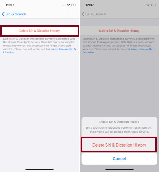 Удалить историю Siri & Dictation