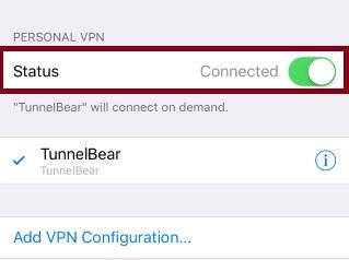 Отключить TunnelBear VPN
