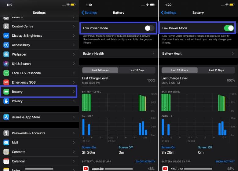 Habilitar el modo de bajo consumo en iOS 13