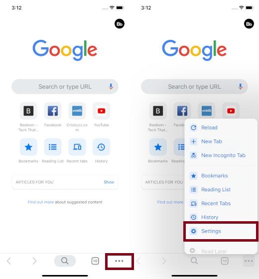 Toque Configuración en Chrome