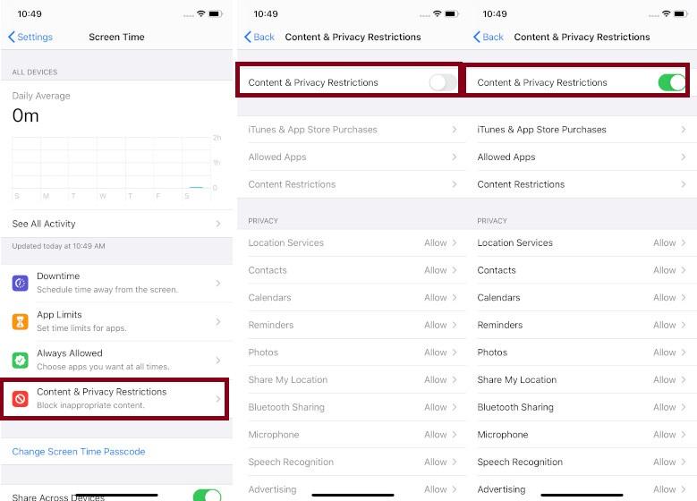Activar contenido y restricciones en iOS 13
