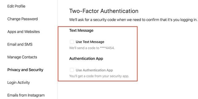 seleccione su método de seguridad preferido como texto o aplicación de autenticación
