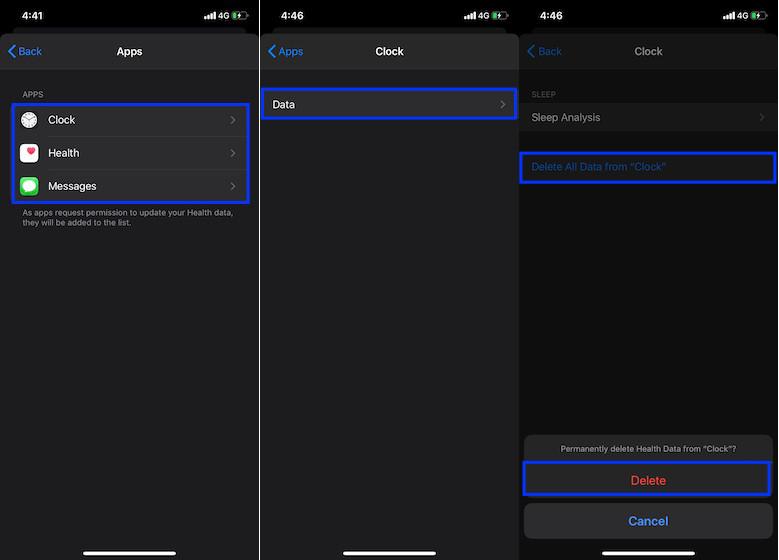 Eliminar datos de salud de la aplicación Reloj en iPhone