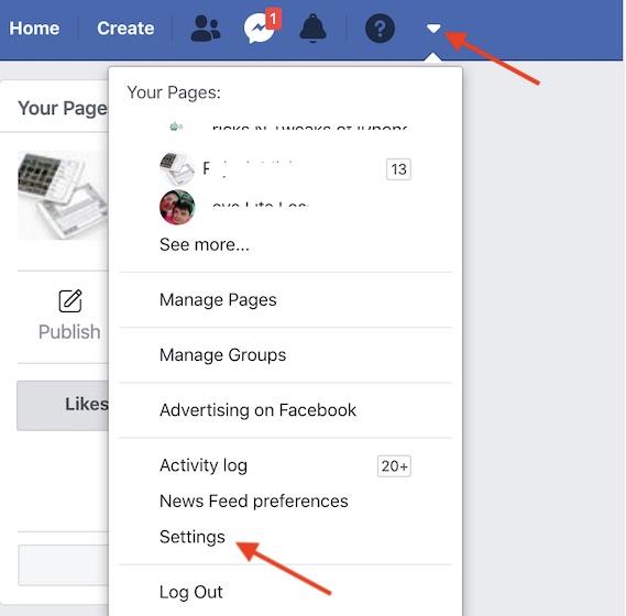 Ir a la configuración de Facebook en la web
