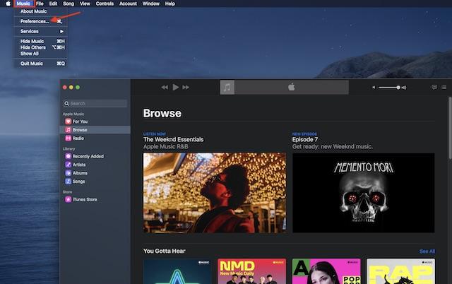 Ahora, haga clic en Música y elija Preferencias